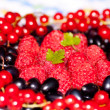 Plate with berries of raspberry, currant, bilberry - Stock Photo