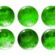 Green globe icons — Stock Vector