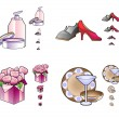 Woman stuff icons — Stock Vector