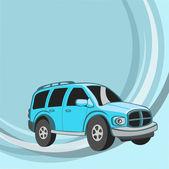 面白い青車 — ストックベクタ