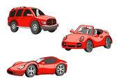 変な赤い車有趣的红车 — ストックベクタ