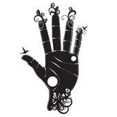 Sihloette de la main de l'homme — Vecteur