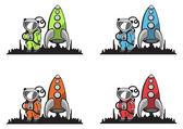 Funny, cartoon astronaut — Stock Vector
