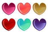 Hermoso conjunto de iconos de corazones — Vector de stock