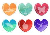 Beautifull hearts icon set — Stock Vector