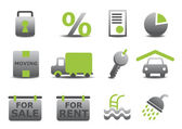 Real estate and moving icons set — Stock Vector