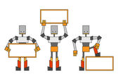 Robots with placard — Stock Vector