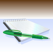 Elegante pen en notitieblok — Stockvector