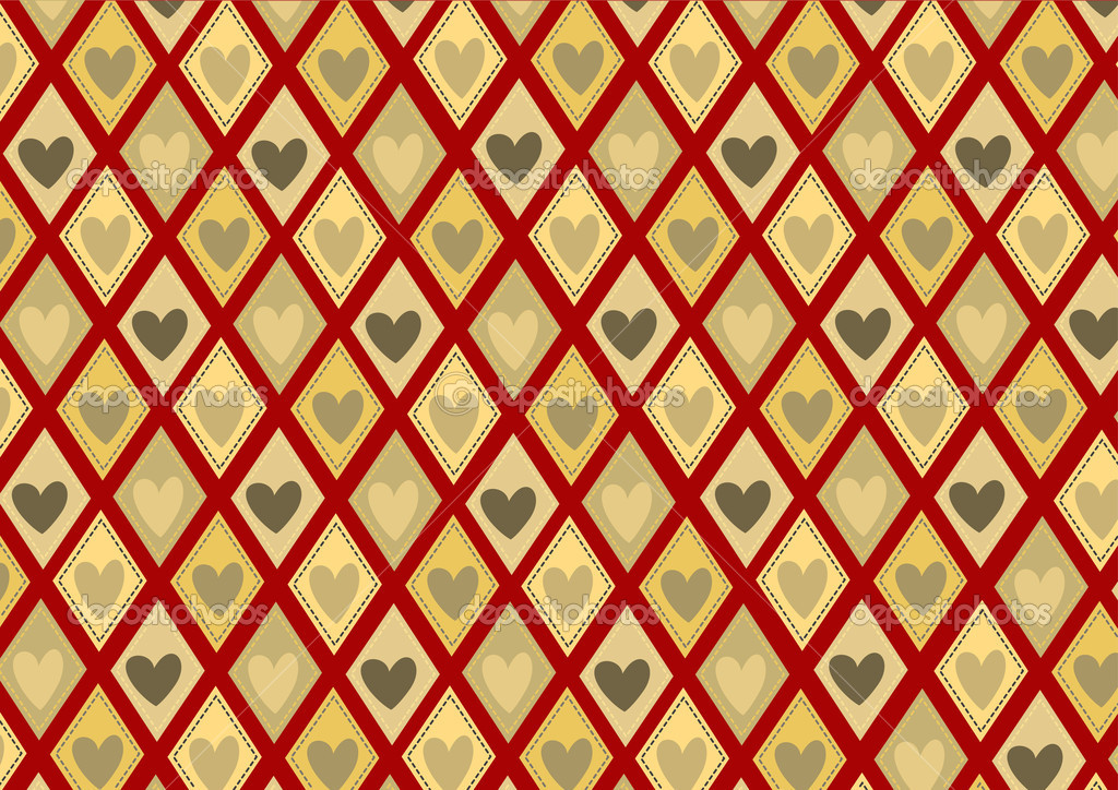 Vector illustration of retro rhombs with heart pattern on the red background — Stock Vector #11572920