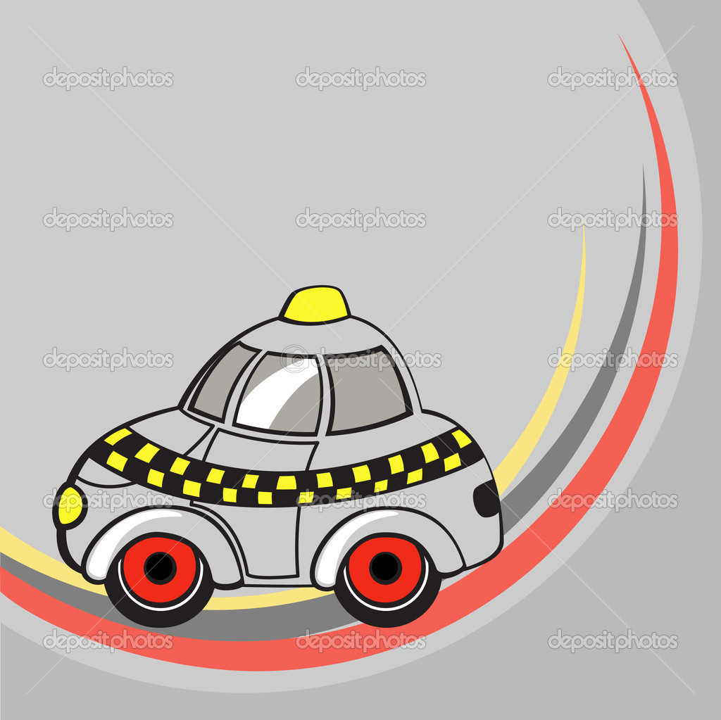 Vector illustration of  Transport Cartoon  . Little funny taxi car . — Stock Vector #11573040