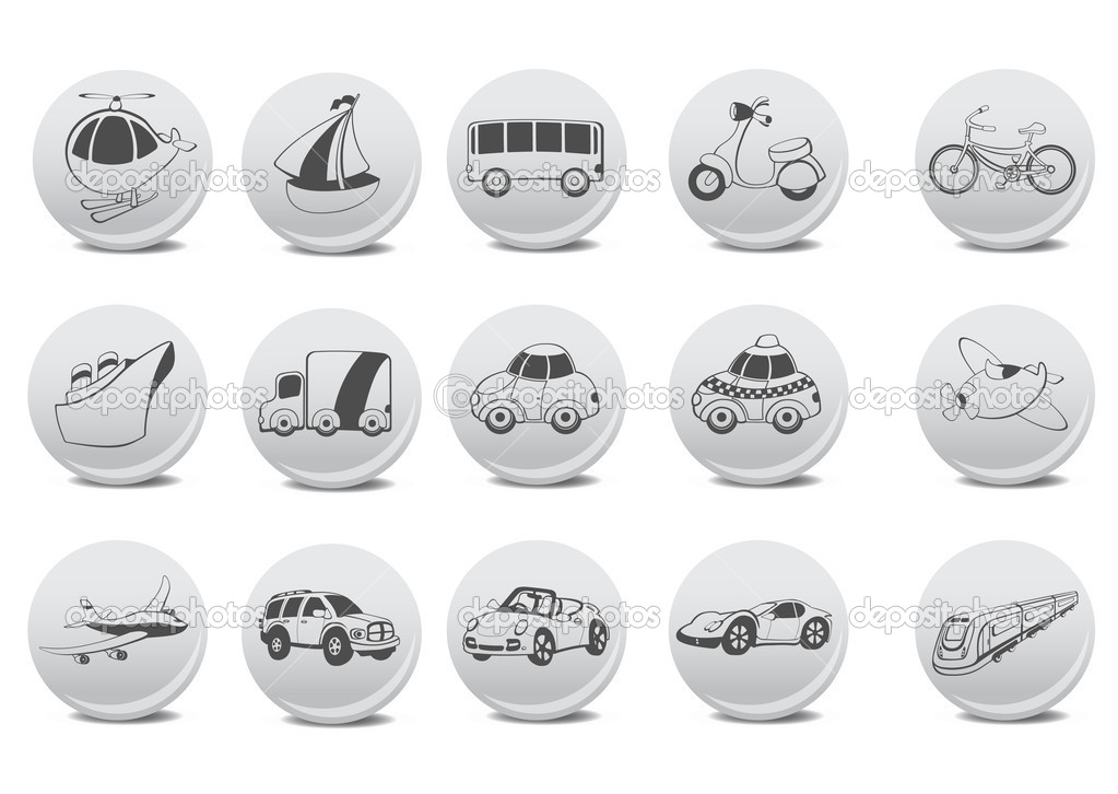 Vector illustration of transportation icons on the grey buttons.  Stock Vector #11573144