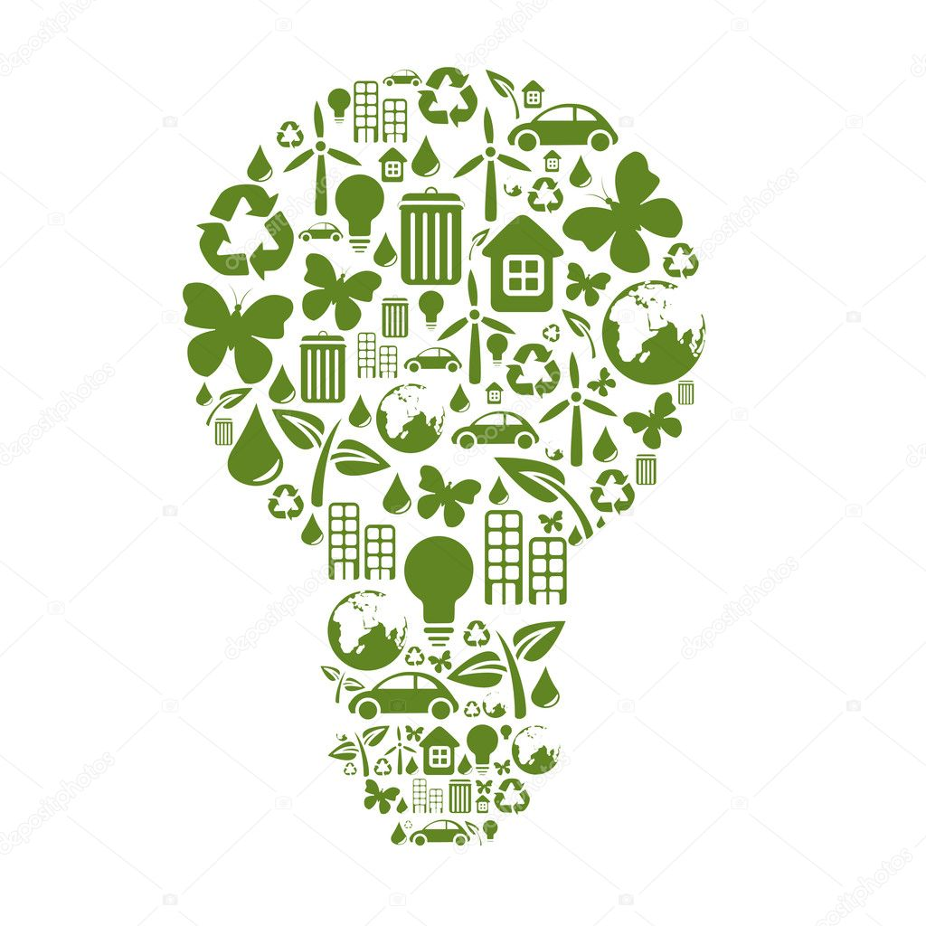 Vector illustration of bulb shape, made from different ecological items.  Stock Vector #11573444