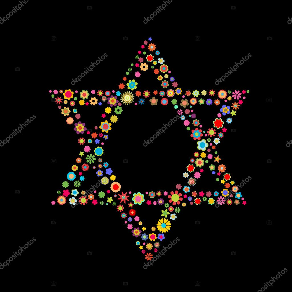 Vector illustration  Star of David shape  made up a lot of  multicolored small flowers on the black background — Stock Vector #11574167