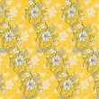 Vector Illuctration of floral pattern on the yellow background. — Stock Vector