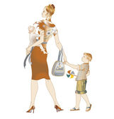 Mother walking with her childrens — Stock Vector