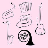 Music Instruments Design Set — Stok Vektör