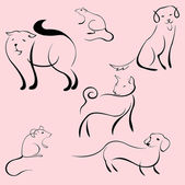 Domestic Animals Design Set — Stock Vector