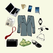 Kit de accesorios de hombre de negocios — Vector de stock