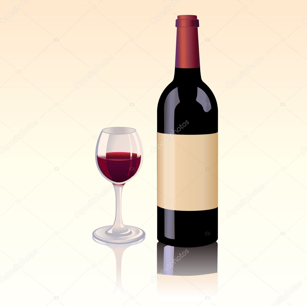 bottle of red wine and a glass stock illustration bottle red wine