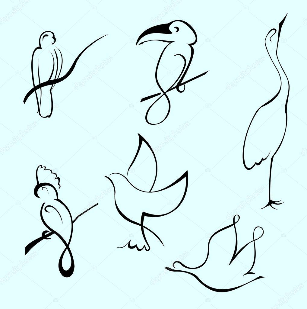 Рисунки одной линией птица