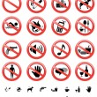 Forbidden signs set — Stock Vector