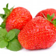 Strawberry with fresh mint — Stock Photo