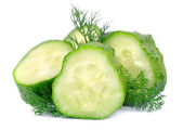Lobes of a cucumber with fennel — Stock Photo