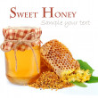 Linden honey and honeycomb — Stock Photo