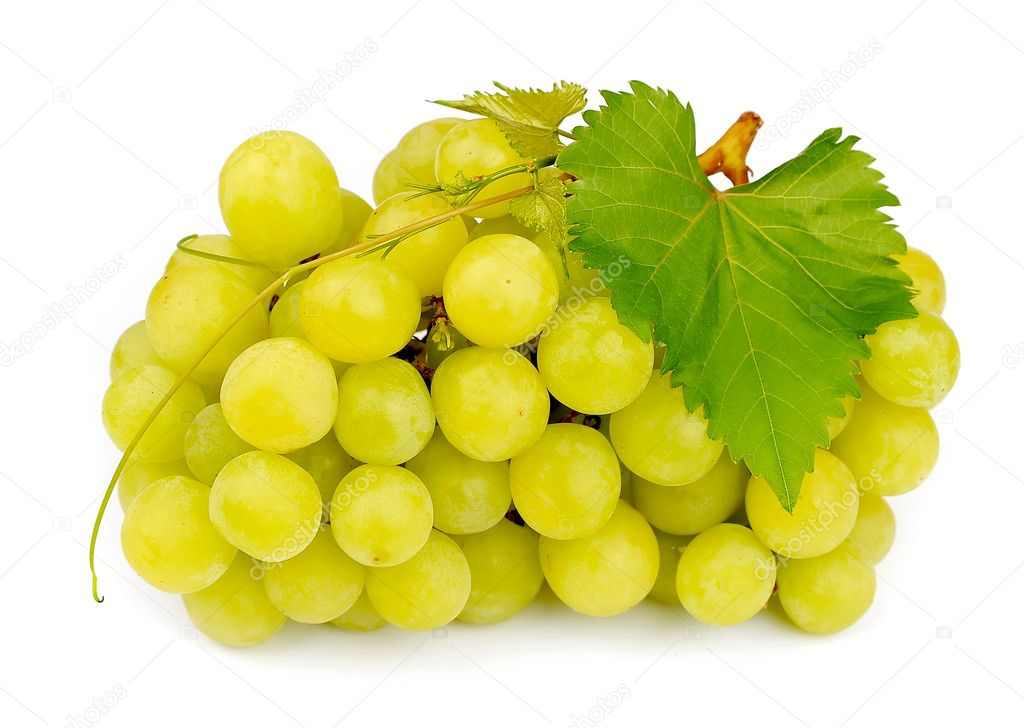 Sweet and ripe grapes with leafs on white  Stock Photo #11830441