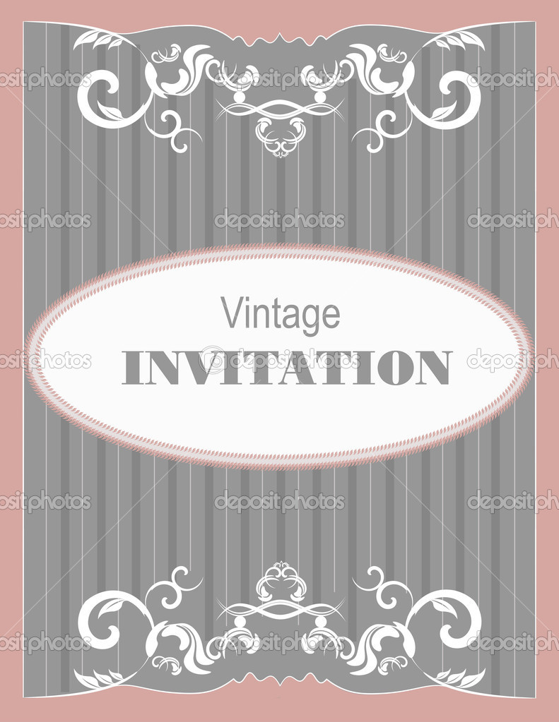 Invitation vintage card. Wedding or Valentine`s Day. Vector illustration — ベクター素材ストック #11214301
