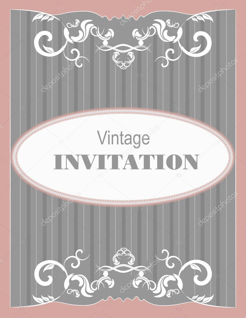 Invitation vintage card. Wedding or Valentine`s Day. Vector illustration — Imagens vectoriais em stock #11214301
