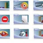 9 つのオフィスおよびビジネスのアイコンをベクトルします。デザイナーや web デザイナーのためのヘルプ — ストックベクタ