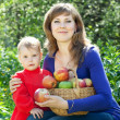 Happy woman and child apples in garden — Stock Photo