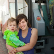 Stock Photo: Mother and child traveling on bus