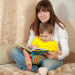 Mother and daughter reading book — Stock Photo #11498702