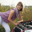 Womtrying to fix car — Stock Photo #11498812