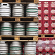 Stock Photo: Beer kegs in rows at Krusovice Brewery