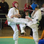National championship among juniors by kyokushin karate — Stock Photo #11499225