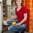 Woman defrosting the refrigerator — Stock Photo #11499374