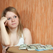 Stock Photo: Womthinks about financial issue