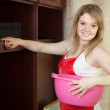 Happy girl cleans furniture — Stockfoto #11499430