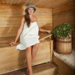Royalty-Free Stock Photo: Woman is sitting at sauna
