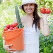 Happy woman with vegetables — Stock Photo