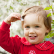 Happy  baby girl  in spring — Stock Photo