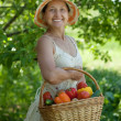 Woman with basket of vegetables — Stock Photo #11499651