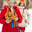 Happy girls during Shrovetide in Russia — Stock Photo #11499780