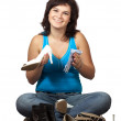Woman  cleans shoes over white - Stock Photo