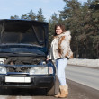 Woman   near  her broken car — Stock Photo
