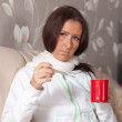 Womsitting with thermometer — Stock Photo #11499875
