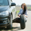 Stock Photo: Womchanging car wheel
